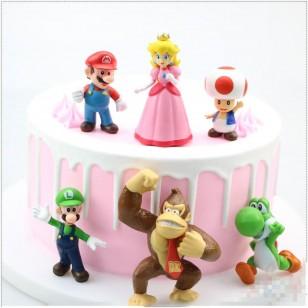 6 personagens 3D Super Mário Bros decoração aniversário Ref 2724
