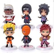 Seis bonecos colecionáveis Naruto 3D 7cm Ref 2813