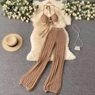 Conjunto de praia em crochê top e calça pantalona Ref 3331