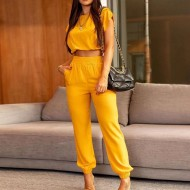 Conjunto amarelo blusinha cropped e calça cintura alta Ref 3192