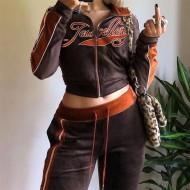 Conjunto agasalho jaqueta e calça veludo esporte Jewellery Ref 3253