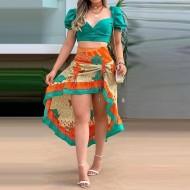 Conjunto top decote princesa tiffany com saia floral Ref 3075