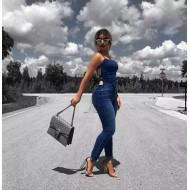 Macacão jeans skinny decote quadrado Ref 1247