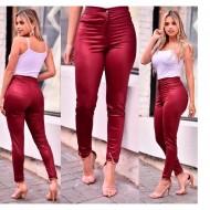 Calça disco pants cintura alta marsala vermelha ou preta Ref 2586