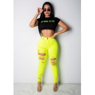 Calça jeans verde neon destroyed Ref 1256