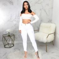 Calça jeans branca doutora skinny Ref 1252