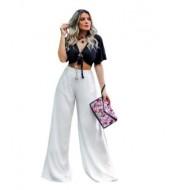 Calça feminina pantalona fenda lateral cordão jogger flare Ref 2414