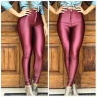 Calça cintura alta skinny hot pants marsala ou preta Ref 1953