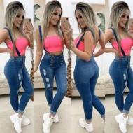 Jeans macacão calça com suspensório Ref 1246