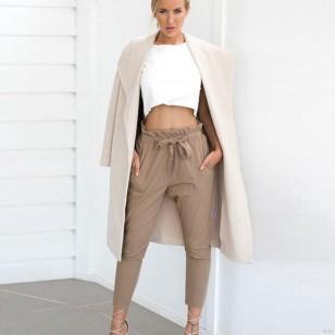 Calça moderna feminina cinto de cordão com bolso Ref 2235