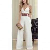 Conjunto Ariane Canovas top alcinha e calça pantalona Ref 2569
