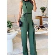 Macacão verde moda luxo flare Ref 1036