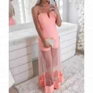 Macacão com saia transparente rosa Ref 1389
