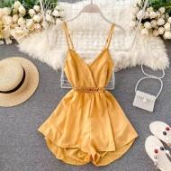 Macaquinho amarelo chiffon luxo Ref 1115