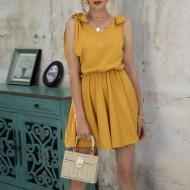 Macaquinho cor mostarda chique boutique luxo moderna Ref 2446