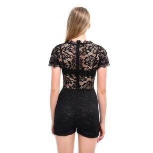 Macaquinho de renda crochê fashion blogueiras Ref 2337