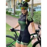 Macaquinho de ciclismo camuflado militar verde exército Ref 3026