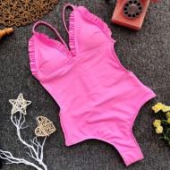 Maiô rosa com bojo e babadinho Ref 340