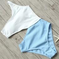Maiô top branco e calcinha azul piscina Ref 351
