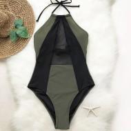 Body maiô verde militar com tule gola chocker Ref 1213