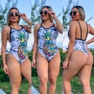 Maiô body moda 2021 abacaxi colorido estilizado Ref 2488
