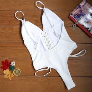 Maiô branco body Réveillon cavado cordão de amarrar cintura Ref 2804