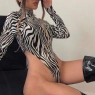 Body cavado estampa de zebra Ref 3135