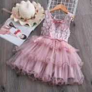 Vestido de festa infantil bordado saia chiffon Ref 2709