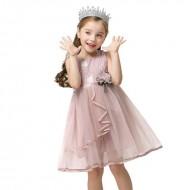 Vestido de festa infantil plissado chiffon e renda Ref 2715