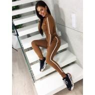 Conjunto marrom cáqui fitness calça e blusa Ref 888
