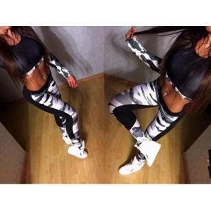 Conjunto camuflado calça legging e top manga longa Ref 838