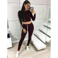 Blusa e calça cor marsala moda fitness Ref 890