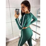 Conjunto verde com blusa manga longa e calça Ref 885