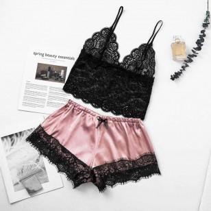 Conjunto pijama cetim seda top shorts baby doll Ref 1645