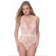 Lingerie body sexy branca renda Ref 1703