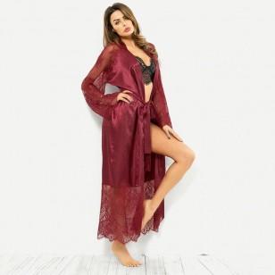 Robe de seda cetim luxo com renda Ref 1769