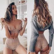 Conjunto moda íntima calcinha e top renda Ref 494