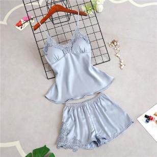 Conjunto de dormir pijama cetim de seda luxo Ref 1764
