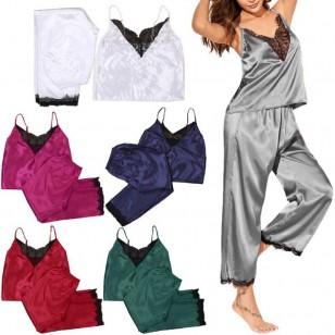 Pijama luxo de cetim de seda várias cores Ref 1774
