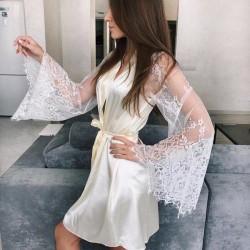 Roupão robe moda íntima cetim de seda Ref 466