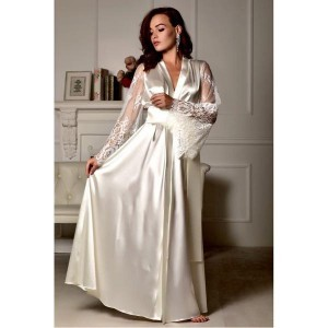 Camisola longa cetim de seda manga flare