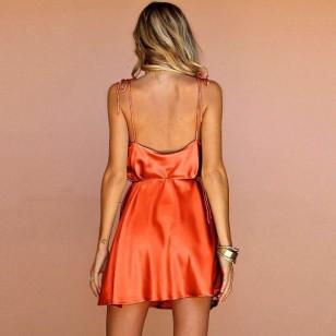 Camisola moda íntima laranja neon cetim de seda Ref 713