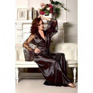 Camisola longa cetim de seda com renda Ref 802