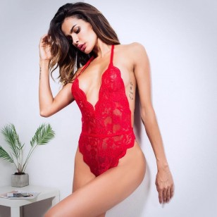 Body lingerie elegante de renda luxo Ref 1414