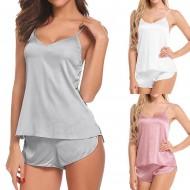 Conjunto de pijama de seda blusinha e shorts Ref 1695