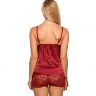 Conjunto de pijama em cetim de seda luxo Ref 2814