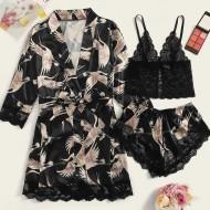 Conjunto de camisola robe com top e shorts luxo cetim de seda Ref 2419
