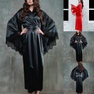 Robe camisola seda medieval luxo com manga de renda Ref 1956