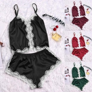 Conjuntinho blusa e shorts babydoll de seda Ref 2006