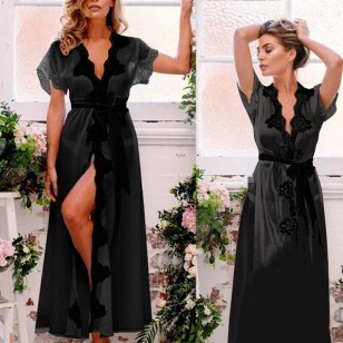 Camisola Tereza Cristina cetim seda estilo boutique Ref 1905